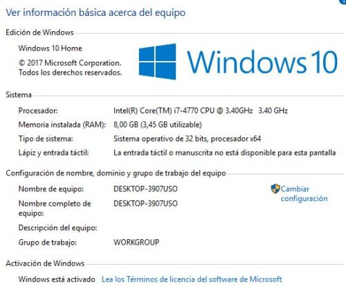 Windows 10. ver información básica